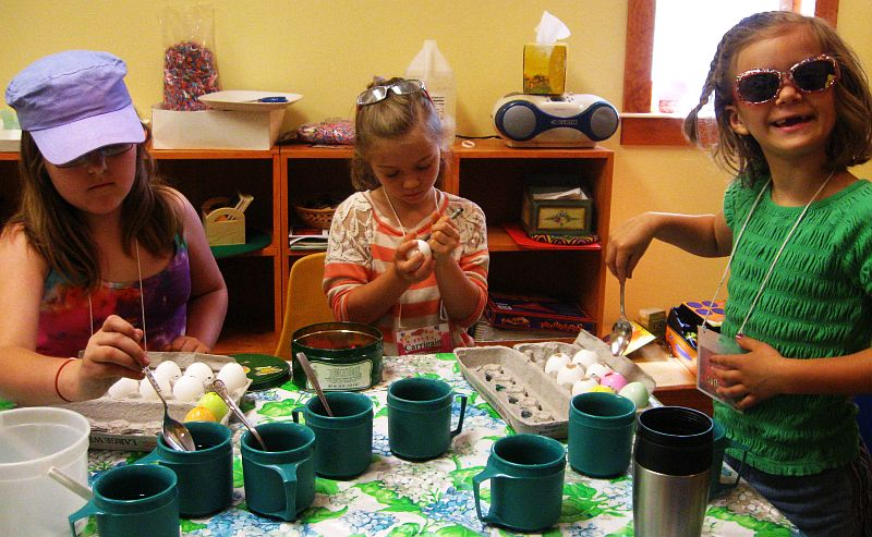 Children working on crafts for the Spring Party