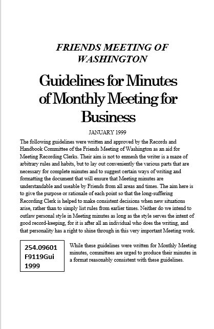 """Guidelines for minutes of monthly meeting for business"""