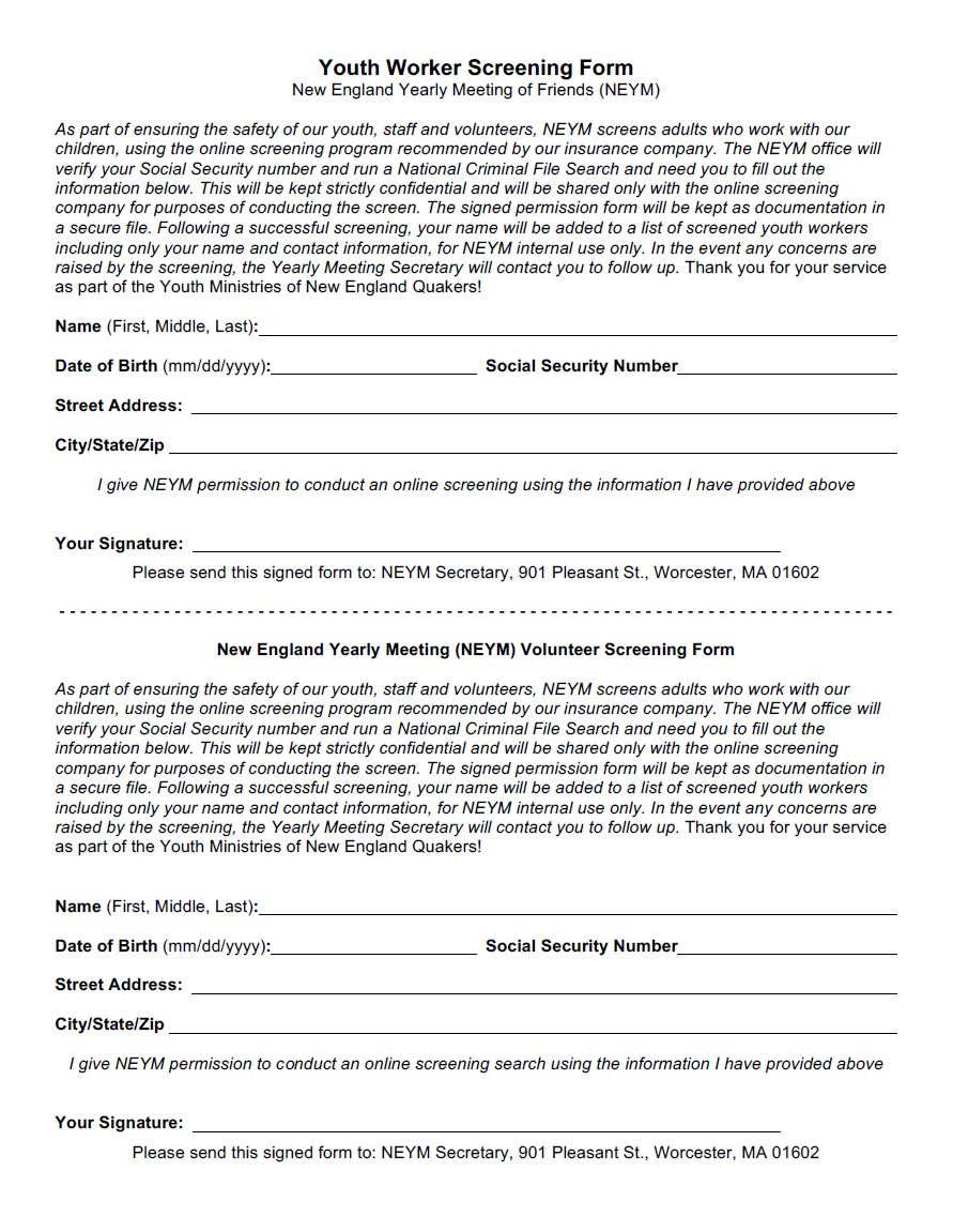 image of 'NEYM Youth Worker Screening Form'