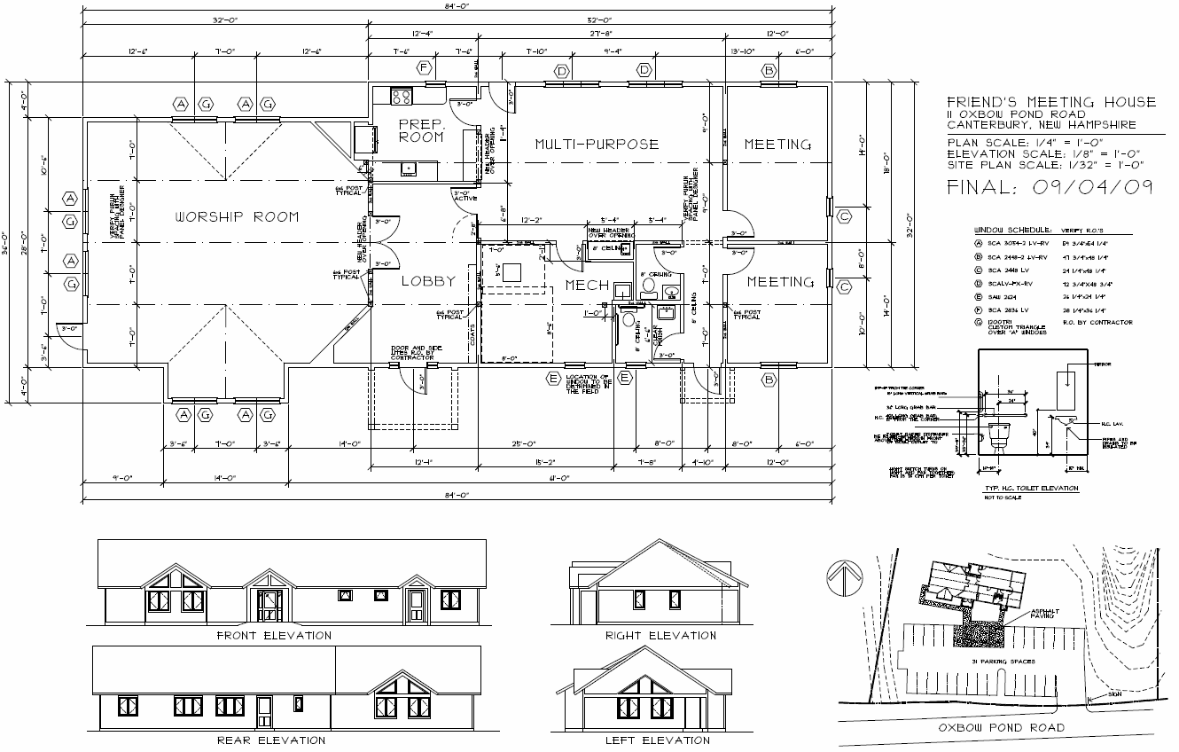 Final Floor Plan, Site Plan, and Elevations for Concord Friends Meetinghouse
