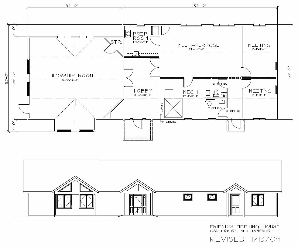 Floor Plan and Front Elevation for Concord Friends Meetinghouse