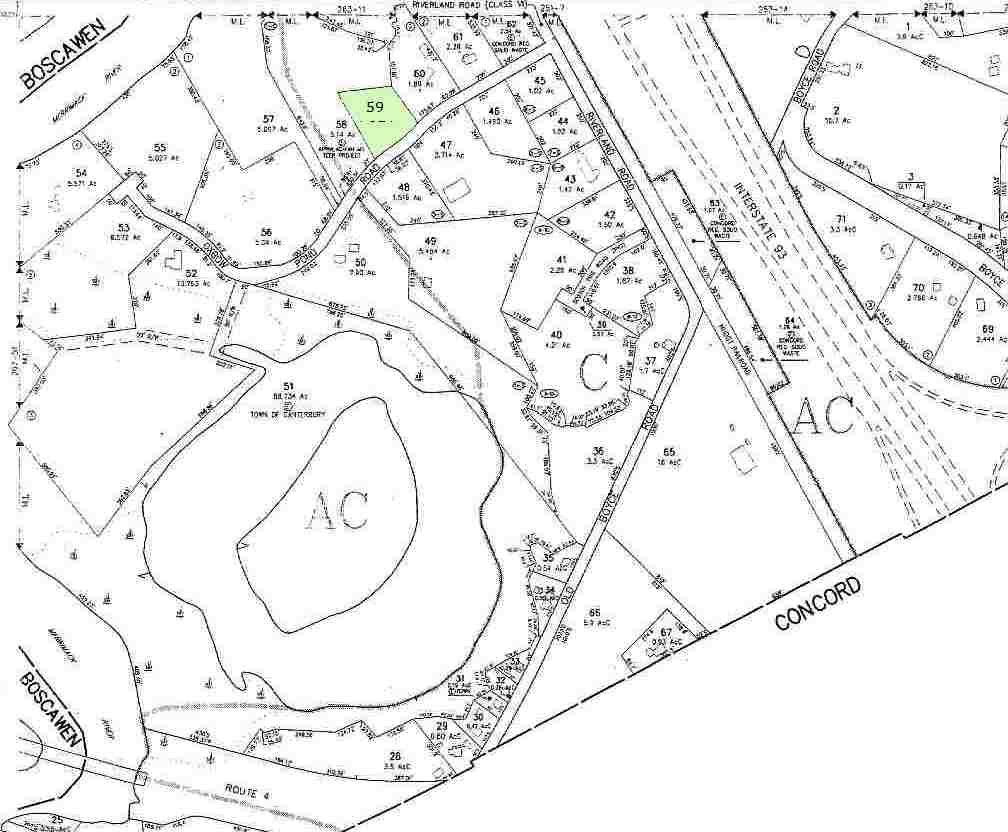 fragment of Canterbury Property Map Number 267 showing plot 59, which is the site of Concord Friends Meetinghouse